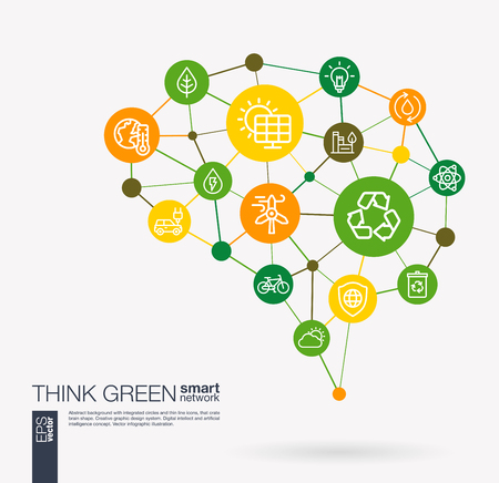 AI creative think green system concept. Digital mesh smart brain idea. Futuristic interact neural network grid connect. Environmental, ecology, recycle and eco energy integrated business vector icons. Illustration