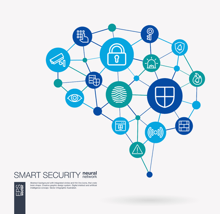 AI creative think system concept. Digital mesh smart brain idea. Futuristic interact neural network grid connect. Cyber security, big data protect, internet safety integrated business vector icons. Vettoriali