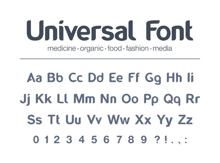 Universal brand name font. Food, drink, organic product packaging, fashion media, medicine full  alphabet. Letters, numbers for pharmacy, restaurant, business icon design modern vector typeface.