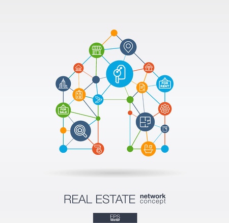 Real estate integrated thin line web icons in home shape. Digital network concept, Connected graphic design polygons, circles system. Vector illustration. Illustration