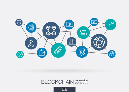 Crypto currency and blockchain integrated thin line web icons. Digital neural network interact concept. Connected graphic design system. Finance, money, banking technology vector abstract background
