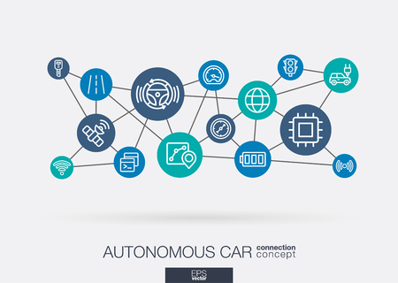 AI creative think system concept. Digital smart mesh idea. Futuristic interact neural network grid connect. Autonomous electric car, self-driving, autopilot integrated business vector thin line icons. Illustration