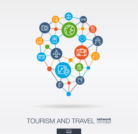 Travel integrated thin line web icons in map pin sape. Digital network concept. Connected graphic design polygons, circles system. Vector background whith gps navigation marker, tourism, hotel booking