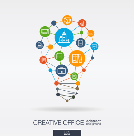 Business office work integrated thin line web icons. Idea, solution in light bulb shape. Digital network concept. Connected polygons and circles system. Abstract teamwork work space background. Vector illustration.