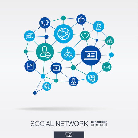 Society integrated thin line web icons in speech bubble message shape. Digital neural network concept. Connected polygons system. Abstract background for social media, people communication. Vector