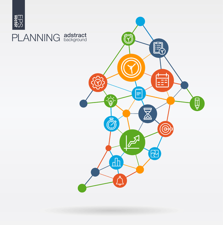 Time management, planning integrated thin line web icons. Graph chart growth, progress and success in arrow up shape. Digital neural network interact concept. Connected graphic design polygons and circles system. Abstract background for business strategy, plan. Vector Infograph