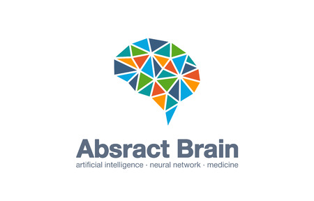 Abstract business company logo. Corporate identity design element. Smart brain, artificial intelligence, neural network, logotype idea. Brainstorm, learn and think concept. Vector interaction icon