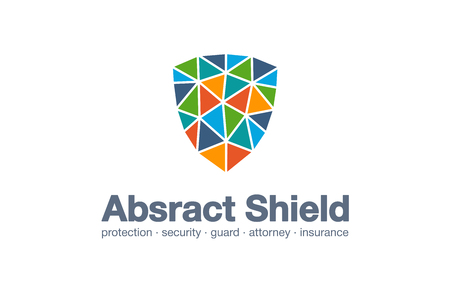 Abstract business company logo. Corporate identity design element. Protection, defense, cyber security, lock logotype idea. Guard, strong shield, safety connection concept. Vector interaction icon