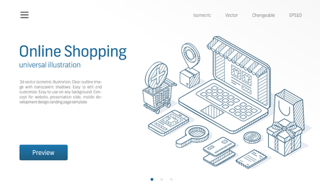 Online Shopping modern isometric line illustration. Delivery, cart, laptop store business sketch drawn icons. Abstract 3d vector background. Ecommerce pay, market sales concept. Landing page template Иллюстрация