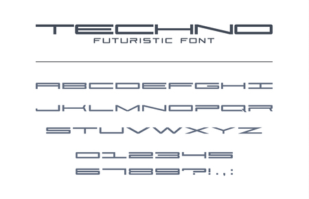 Techno futuristic wide font. Geometric, sport, future, digital technology alphabet. Letters and numbers for military, tech industry, game, business logo design. Modern minimalistic vector typeface