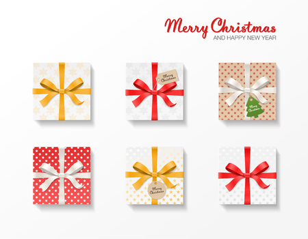 Square gift box set. Gold, red, silver color bow knot, ribbons, kraft ball and tree hang tags. Snowflake pattern paper. Merry Christmas text. Happy New Year package. Vector illustration 3d top view Illustration