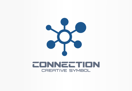 Connect creative symbol concept. Social media network, communication hub abstract business. Global link, data share, digital technology icon. Corporate identity, company graphic design