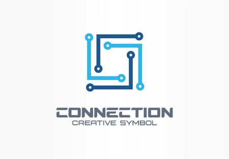 Connect creative symbol concept. Community network, communication circuit abstract business. Square integration, digital technology group icon. Corporate identity, company graphic design