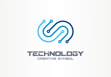 Digital technology creative symbol concept. Electronics, software, hardware upgrade, integration abstract business. Circuit board, chip icon. Corporate identity, company graphic design