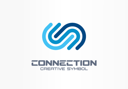 Digital connect creative symbol concept. Community join, integration, web network abstract business. Internet technology, communication icon. Corporate identity, company graphic design