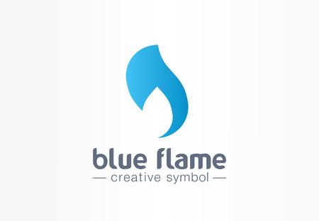 Blauwe vlam energie creatief symbool concept. Kracht vuur en water silhouet abstracte zakelijke strijd. Hete vuurbal, gasvorm, benzinepictogram. Huisstijl, grafisch ontwerp van het bedrijf Vector Illustratie