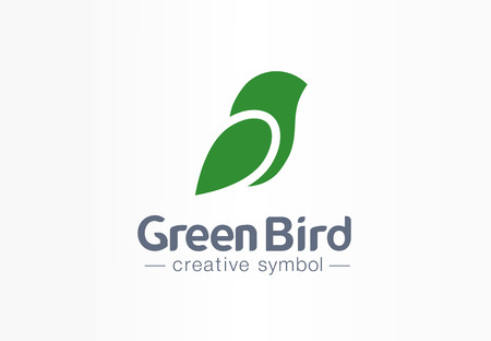 Green bird creative eco symbol concept. Nature freedom sparrow abstract leaf silhouette wing business. Art healthcare environment message icon. Corporate identity, company graphic design