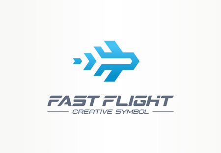 Fast flight creative symbol travel concept. High speed plane abstract business aviation. Jet arrow rocket route way, airplane trip ticket icon. Corporate identity, company graphic design Ilustração