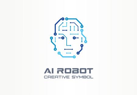 AI robot technologie creatief symbool machine concept. Digitale bionische cyborg geconfronteerd met abstracte zakelijke toekomst. Slimme humanoïde, Android, VR-pictogram. Huisstijl, grafisch ontwerp van het bedrijf
