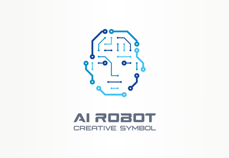 AI robot technology creative symbol machine concept. Digital bionic cyborg face abstract business future. Smart humanoid, android, vr icon. Corporate identity, company graphic design