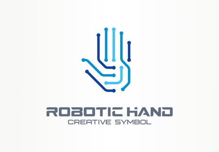 Robotic hand creative symbol concept. Digital technology, cyber security abstract business. VR touch, electronic, automation, ai cyborg icon. Corporate identity, company graphic design Çizim