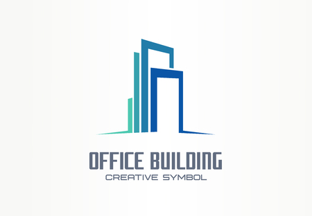 Office building creative symbol concept. Finance center, city downtown, street skyline abstract business. Modern apartment, real estate icon. Corporate identity, company graphic design