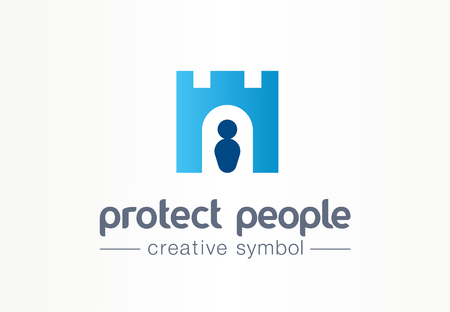 Protect people creative symbol concept. Human shield, body guard abstract business fortress. Royal tower , castle security, person safety icon. Corporate identity, company graphic design