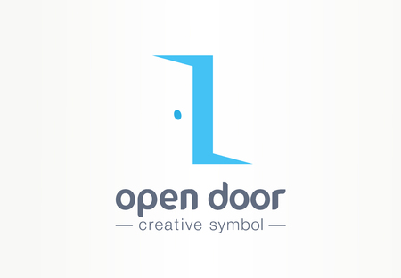 Open door, in and out creative symbol concept. Enter, exit, real estate agency abstract business. Home furniture, room interior, doorway icon. Corporate identity, company graphic design Ilustrace