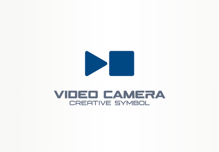 Digital video camera creative symbol concept. Play, stop, pause button abstract business. Multimedia production, communication technology icon. Corporate identity, company graphic design
