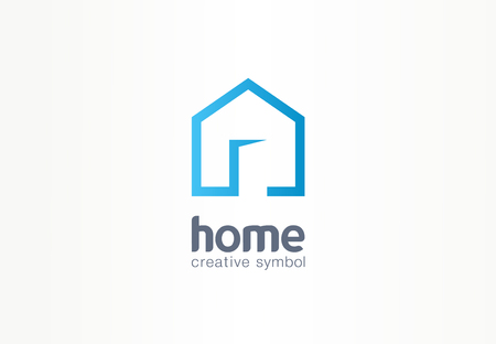 Home creative symbol concept. Open door, building enter, real estate agency abstract business. house interior architecture, website login icon. Corporate identity, company graphic design Stock fotó - 123138501