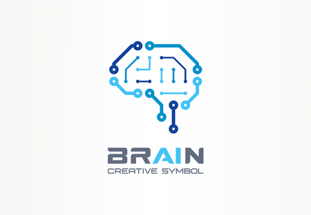 AI brain creative symbol concept. Smart chip, neural network, robot circuit abstract business. Cyber mind digit technology, android think icon. Corporate identity, company graphic design Vector Illustration