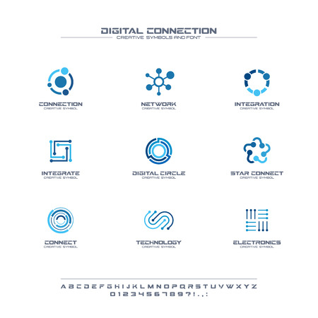 Digital connect creative symbols set, font concept. Social media network abstract business. Internet technology, communication icon. Corporate identity alphabet, company graphic design