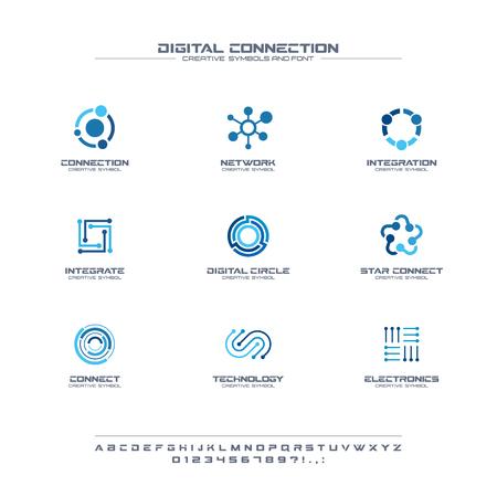 Digitale verbinding met creatieve symbolen set, lettertype concept. Sociale media netwerk abstracte zaken. Internettechnologie, communicatie icoon. Huisstijlalfabet, bedrijfsgrafisch ontwerp