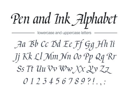 Pen and Ink Alphabet. Universal handwritten font for food, drink packaging, fashion, education.