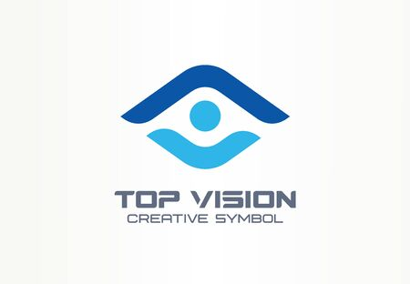 Top vision, man eye creative symbol concept. Protect people, security, care abstract business logo idea. Growth, progress, arrow up icon. Corporate identity logotype, company graphic design tamplate Foto de archivo - 129433163