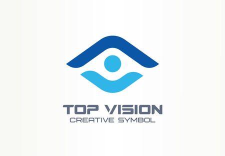 Top Vision, Mann Auge kreatives Symbolkonzept. Schützen Sie Menschen, Sicherheit, Pflege abstrakte Geschäftslogoidee. Wachstum, Fortschritt, Pfeilsymbol nach oben. Corporate Identity Logo, Firmengrafikdesign-Stempel