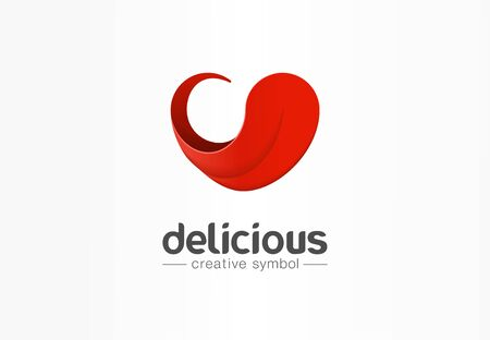 Delicious, tongue in heart shape creative symbol concept. yummy, good taste, pleasure abstract business logo idea. Tasty food, cook icon. Corporate identity logotype, company graphic design tamplate