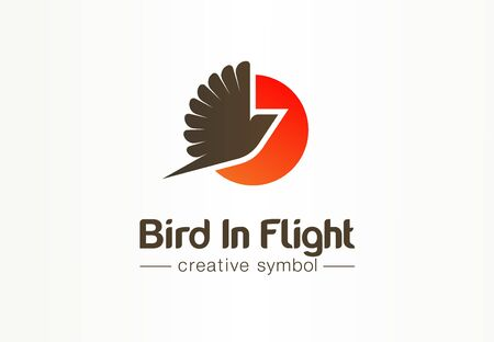 Bird in flight, sunsetcreative symbol concept. Pigeon silhouette with spread wing abstract business logo idea. Phoenix, dove, red sun icon. Corporate identity logotype, company graphic design tamplate Illustration