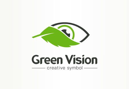 Green, organic vision, fresh view creative symbol concept. Health, bio, eco, environment abstract business logo idea. Eye, leaf mix icon. Corporate identity logotype, company graphic design tamplate