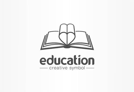 Education, open book with heart shape creative symbol concept. Novel, love story, affair abstract business logo idea. Learn, read icon. Corporate identity logotype, company graphic design tamplate