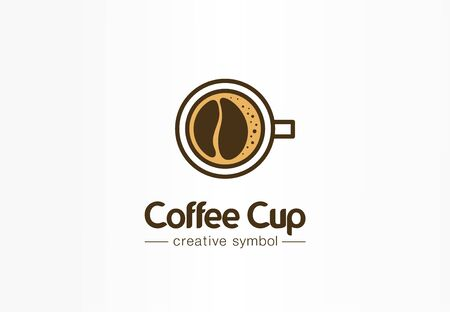 Coffee cup top view with bean shape foam creative symbol concept. Cafe menu, restaurant abstract business logo idea. Fresh espresso icon. Corporate identity logotype, company graphic design tamplate Banque d'images - 129433192