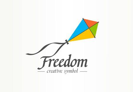 Freedom creative symbol concept. Color kite flight in sky, progress abstract business icon idea. Foto de archivo - 129433191
