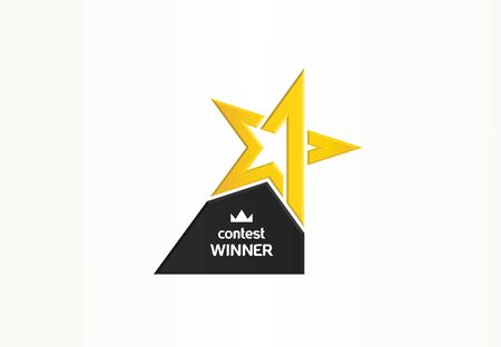 First place, contest winner, number one creative symbol concept. Award, champion abstract business logo idea. Gold star trophy icon. Corporate identity logotype, company graphic design tamplate Иллюстрация
