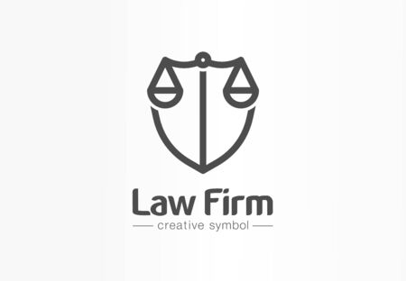 Law firm creative symbol concept. Lawyer office, legal, justice, protection abstract business icon idea. Scale and shield, attorney icon. Vectores