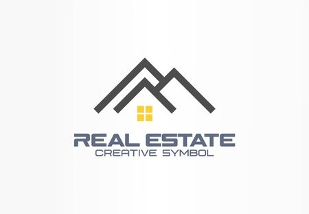 Real estate agent creative symbol concept. Roof and light on window, home, build abstract business logo idea. Rent house architecture icon. Corporate identity logotype, company graphic design tamplate