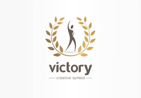 Victory, happy man and gold laurel wreath creative symbol concept. Champion, success abstract business logo idea. Award, win, winner icon. Corporate identity logotype, company graphic design tamplate Stock Illustratie