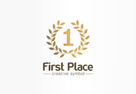 First place, number one, golden laurel wreath creative symbol concept. Trophy, prize abstract business idea. Award, win, winner icon.