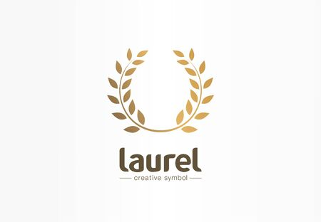 Golden laurel wreath creative symbol concept. Award, win, winner, success abstract business logo idea. Trophy, branch, leaf border icon. Corporate identity logotype, company graphic design tamplate