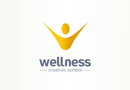 Wellness, happiness creative symbol concept. Healthy lifestyle, healthcare abstract business logo idea. Hands up man, happy person icon. Corporate identity logotype, company graphic design tamplate