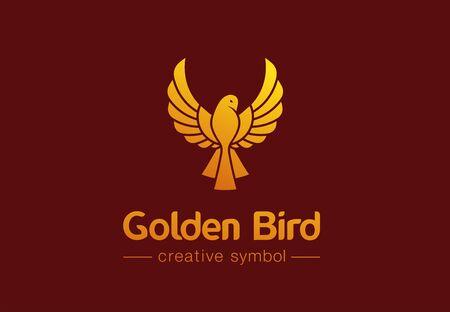 Golden bird in flight creative symbol concept. Premium jewelry, fashion abstract business logo idea. phoenix, dove, hummingbird icon. Corporate identity logotype, company graphic design tamplate